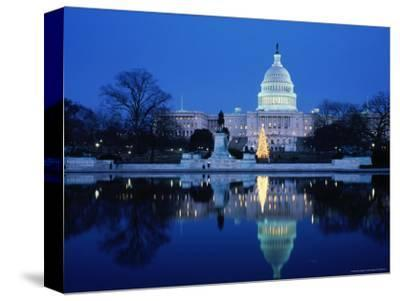 US Capitol and Christmas Tree-Walter Bibikow-Stretched Canvas Print