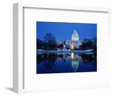 US Capitol and Christmas Tree-Walter Bibikow-Framed Photographic Print