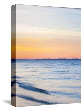 Sunset at Beach with Waves-James Shive-Stretched Canvas Print