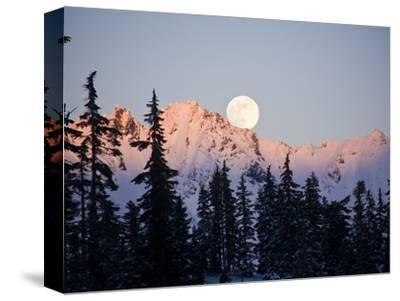 Moonrise over the North Cascades at Sunset, as Seen from Mount Baker, Washington.-Ethan Welty-Stretched Canvas Print
