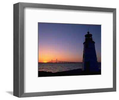 Lighthouse, Goat Island, Newport, RI-James Lemass-Framed Photographic Print