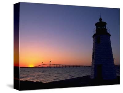 Lighthouse, Goat Island, Newport, RI-James Lemass-Stretched Canvas Print