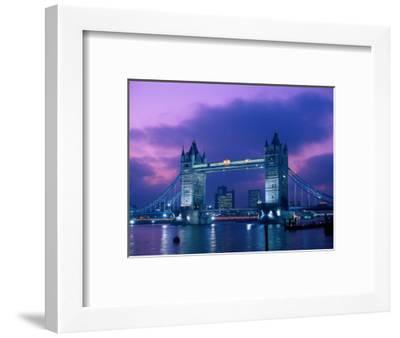 Tower Bridge at Night, London, Eng-Peter Adams-Framed Photographic Print
