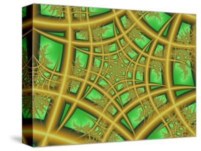 Abstract Web-Like Fractal Patterns on Green Background-Albert Klein-Stretched Canvas Print