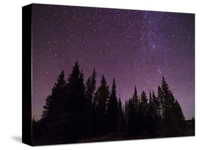 Night Sky over Bighorn Mountains-Mike Cavaroc-Stretched Canvas Print