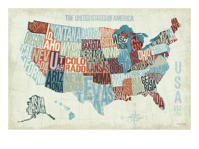 USA Modern Blue-Michael Mullan-Premium Giclee Print