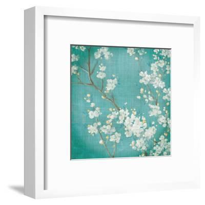 White Cherry Blossoms II on Blue Aged No Bird-Danhui Nai-Framed Art Print