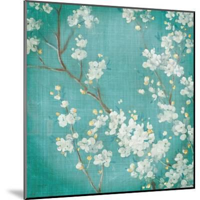 White Cherry Blossoms II on Blue Aged No Bird-Danhui Nai-Mounted Art Print