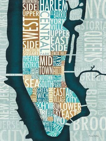 Manhattan Map Blue Brown-Michael Mullan-Framed Premium Giclee Print