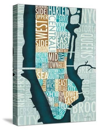 Manhattan Map Blue Brown-Michael Mullan-Stretched Canvas Print
