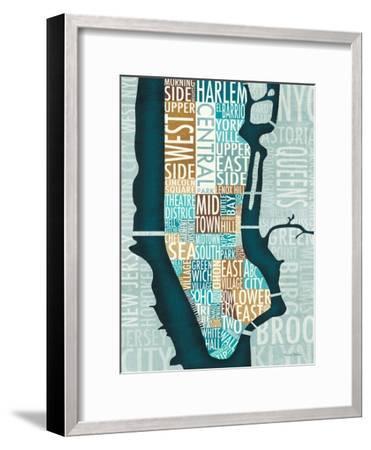 Manhattan Map Blue Brown-Michael Mullan-Framed Art Print
