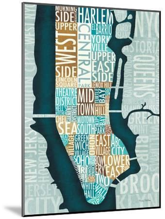 Manhattan Map Blue Brown-Michael Mullan-Mounted Art Print