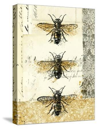 Golden Bees n Butterflies No 1-Katie Pertiet-Stretched Canvas Print