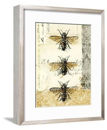 Golden Bees n Butterflies No 1-Katie Pertiet-Framed Art Print