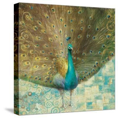 Teal Peacock on Gold-Danhui Nai-Stretched Canvas Print