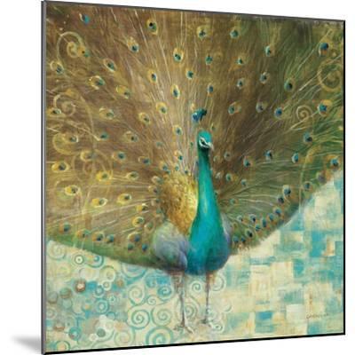 Teal Peacock on Gold-Danhui Nai-Mounted Art Print