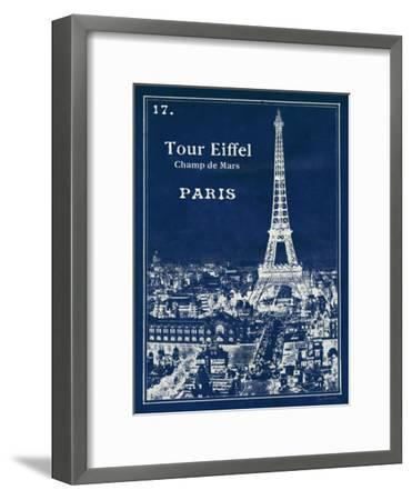 Blueprint Eiffel Tower-Sue Schlabach-Framed Art Print
