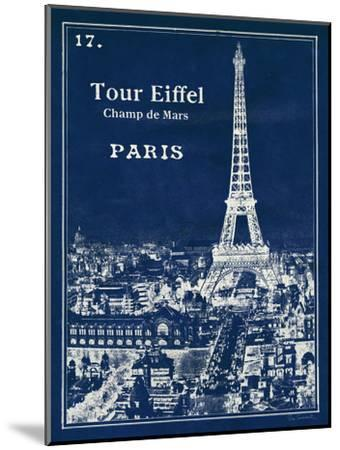 Blueprint Eiffel Tower-Sue Schlabach-Mounted Art Print