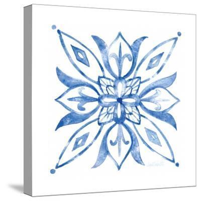 Tile Stencil II Blue-Anne Tavoletti-Stretched Canvas Print