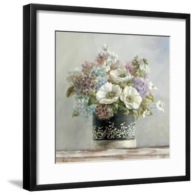 Anemones in Black and White Hatbox-Danhui Nai-Framed Art Print