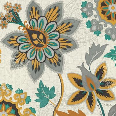 Decorative Nature III Turquoise Cream-Pela Design-Framed Art Print