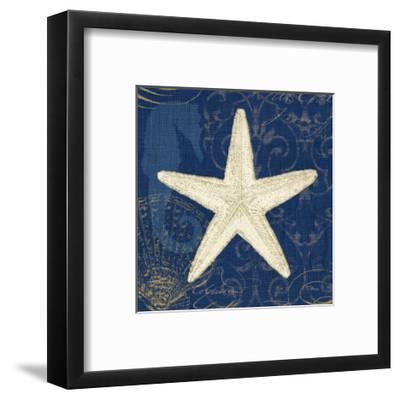 Coastal Moonlight I Teal Center-Pela Design-Framed Art Print