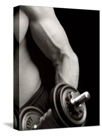 Man Working Out with Hand Wieghts, New York, New York, USA-Chris Trotman-Stretched Canvas Print