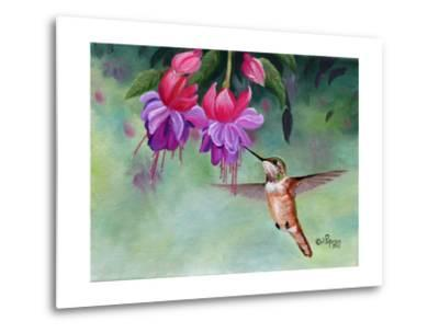 Hummer and Pink Fuchsias-Julie Peterson-Metal Print