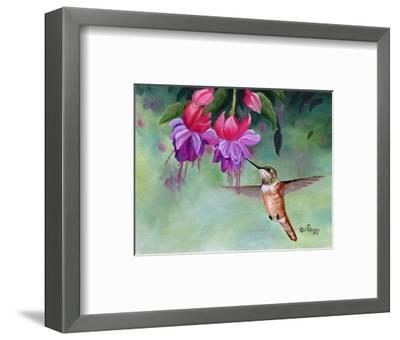 Hummer and Pink Fuchsias-Julie Peterson-Framed Art Print