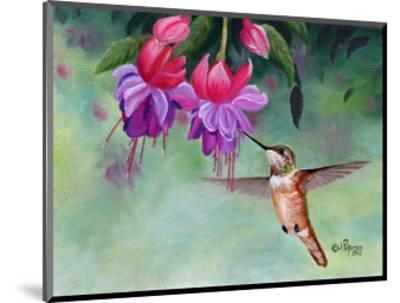 Hummer and Pink Fuchsias-Julie Peterson-Mounted Art Print