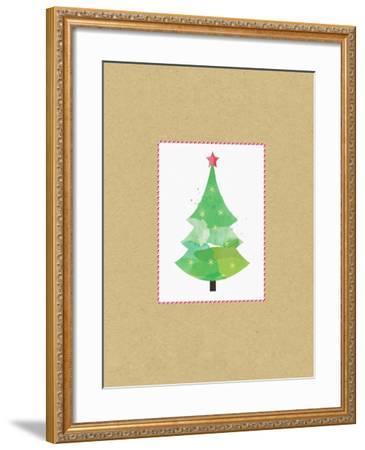 Tree on Kraft 2-Linda Woods-Framed Art Print