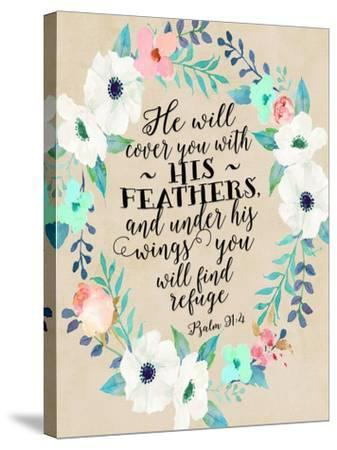Psalm 91 4 Wreath-Tara Moss-Stretched Canvas Print
