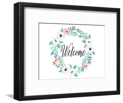 Welcome Teal and Pink-Tara Moss-Framed Art Print