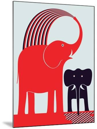Red Elephant-Greg Mably-Mounted Giclee Print