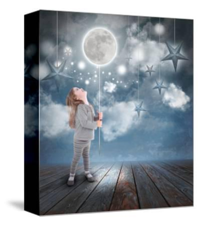 Child Playing With Moon And Stars At Night-Angela_Waye-Stretched Canvas Print