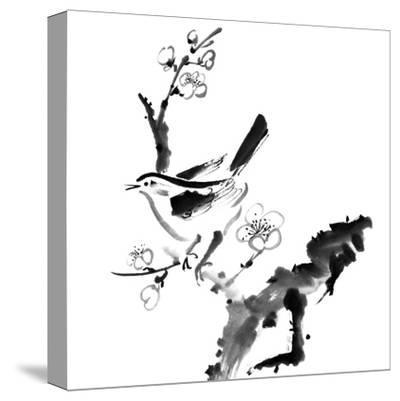 Chinese Painting , Plum Blossom And Bird, On White Background-elwynn-Stretched Canvas Print