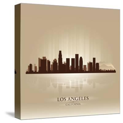 Los Angeles, California Skyline City Silhouette-Yurkaimmortal-Stretched Canvas Print