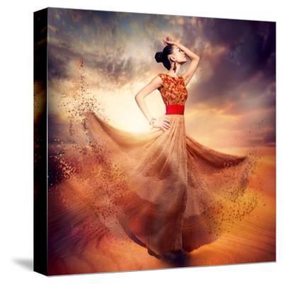 Dancing Fashion Woman Wearing Blowing Long Chiffon Dress-Subbotina Anna-Stretched Canvas Print