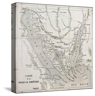 Old Map Of Sinai Peninsula. Created By Erhard, Published On Le Tour Du Monde, Paris, 1864-marzolino-Stretched Canvas Print