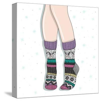 Woman Wearing A Pair Of Wool Socks. Cute Winter Background-cherry blossom girl-Stretched Canvas Print