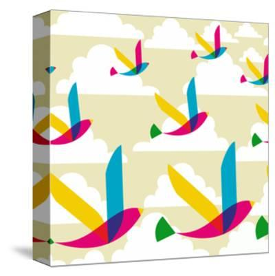 Transparent Multicolored Birds Pattern-cienpies-Stretched Canvas Print