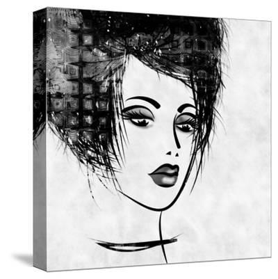 Art Colorful Sketched Beautiful Girl Face In Profile With Black Hair On White Background-Irina QQQ-Stretched Canvas Print
