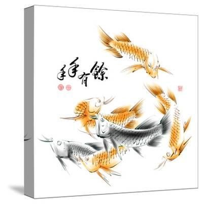 Chinese Dragon Fish Ink Painting. Translation: Abundant Harvest Year After Year-yienkeat-Stretched Canvas Print
