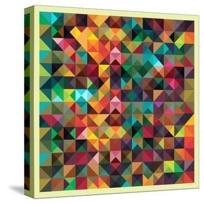 Colorful Triangles Modern Abstract Mosaic Design Pattern-Melindula-Stretched Canvas Print
