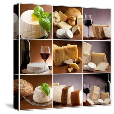 Collection Of Italian Cheese And Wine-Marco Mayer-Stretched Canvas Print