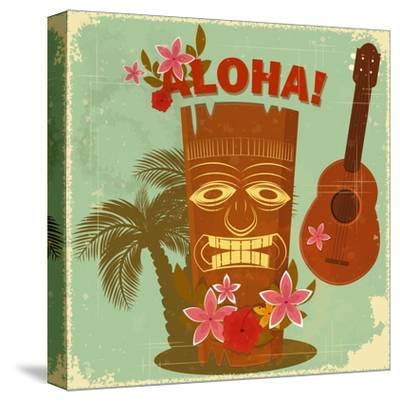 Vintage Hawaiian Postcard-elfivetrov-Stretched Canvas Print