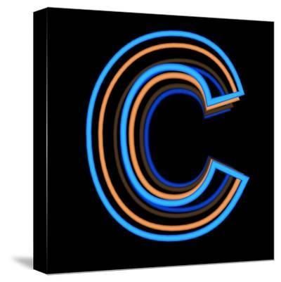 Glowing Letter C Isolated On Black Background-Andriy Zholudyev-Stretched Canvas Print