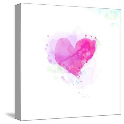 Painted Watercolor Heart-lozas-Stretched Canvas Print