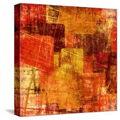 Squares On The Grunge Wall, Abstract Background-molodec-Stretched Canvas Print