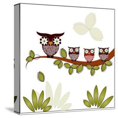 Owl On A Branch-Debra Hughes-Stretched Canvas Print